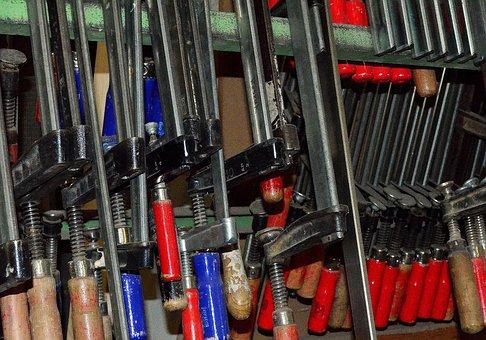 Ferramenta, braçadeira de parafuso, carpintaria, armazenamento