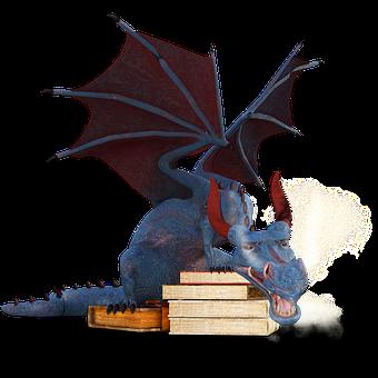 Dragon, Books, Magic, Mystical