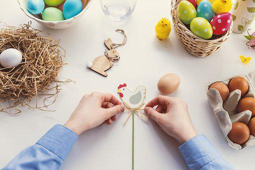 イースター, 卵, 食品, イースターエッグ, 巣, 祝賀, 手, 女の子