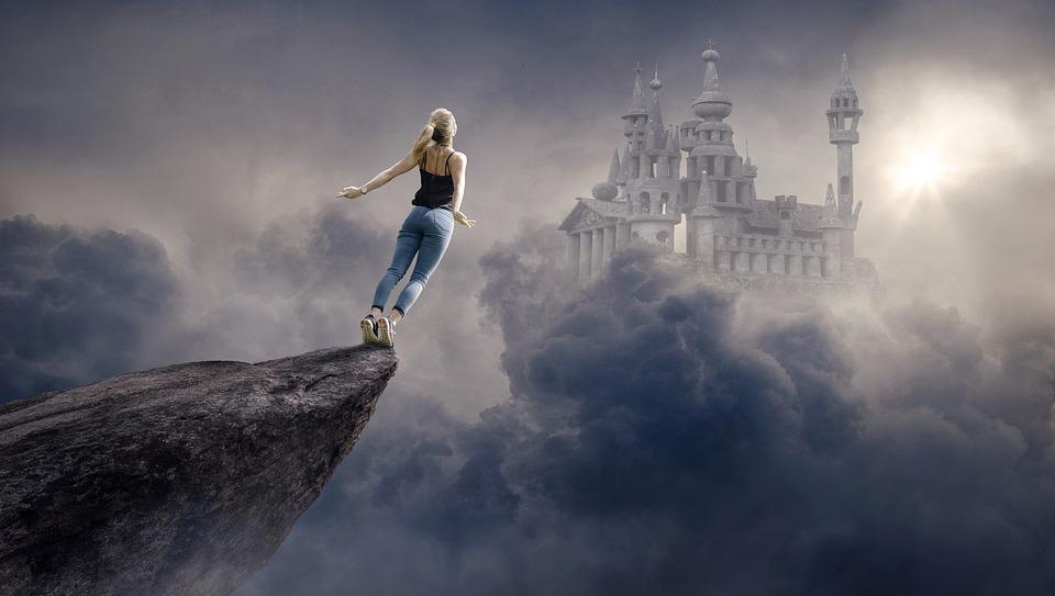 Fantasy, Clouds, Woman, Castle, Sun, Sky, Atmospheric