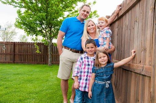 家族, 夏, アウトドア, 幸福