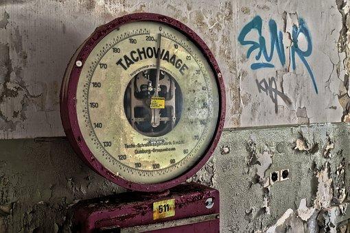水平, スピードメーター規模での, 重量を量る, 古い, の重量を量る