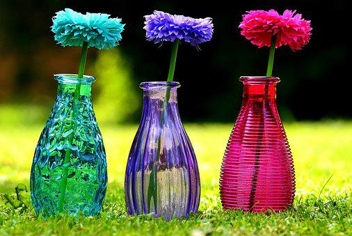 Vases, Glass, Colorful, Flowers