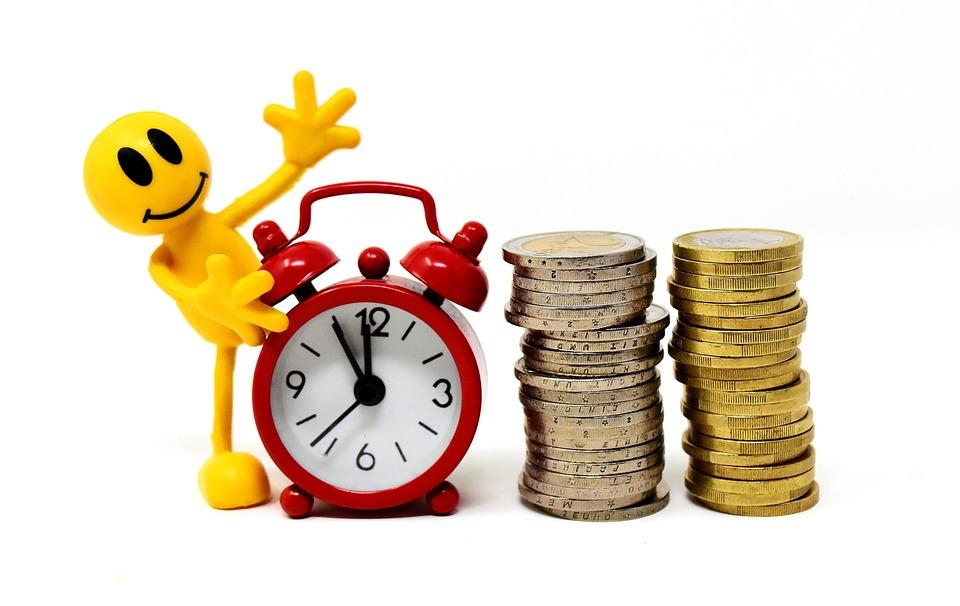 時は金なり, コイン, 数字, おかしい, クロック, 時間を示す, お金, ユーロ, 現金及び現金同等物