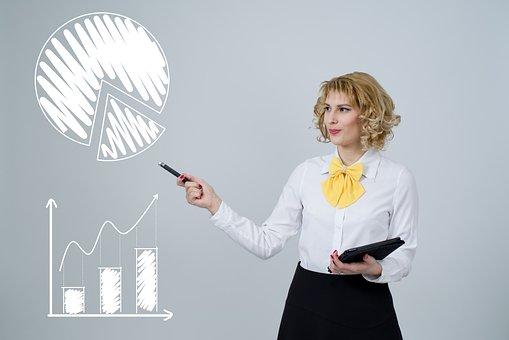 アナリティクス, グラフ, データ, 解析, 女性, ビジネス, ファイナンス