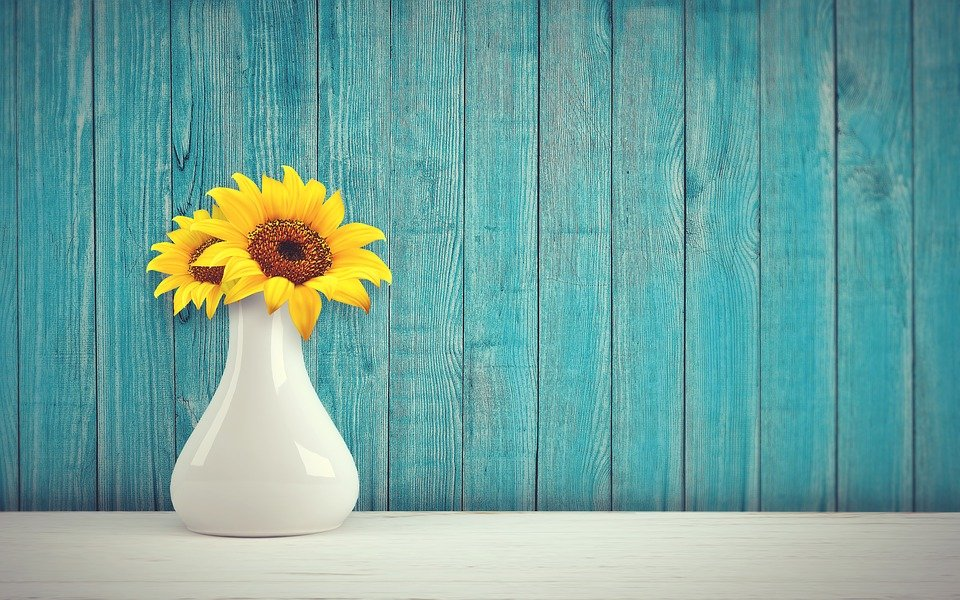 Sunflower, Vase, Vintage, Retro, Wall, Wood, Flowers