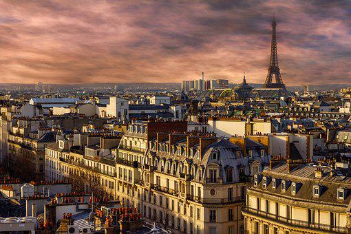 Paris, Eiffel Tower, Night, City, View