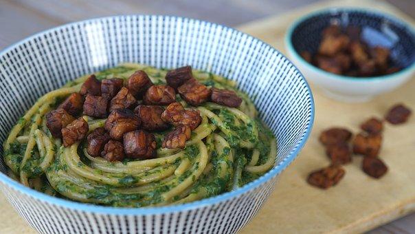 Spaghetti, Spinach, Tempeh, Noodles