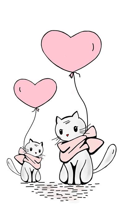 Cat, Ballon, L'Amour, Chaton, Coeur, Rose, Sweet