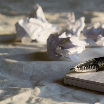 Pen, Ball Point, Paper, Crumpled