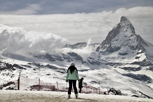 Matterhorn, Skis, Sport, Snow, Mountain