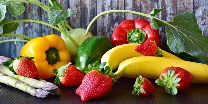フルーツ, 野菜, パプリカ, コールラビ, アスパラガス, イチゴ, 赤, 緑