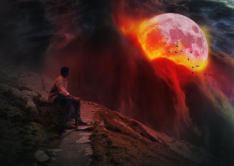 The Wanderer, Man, Full Moon, Tourism