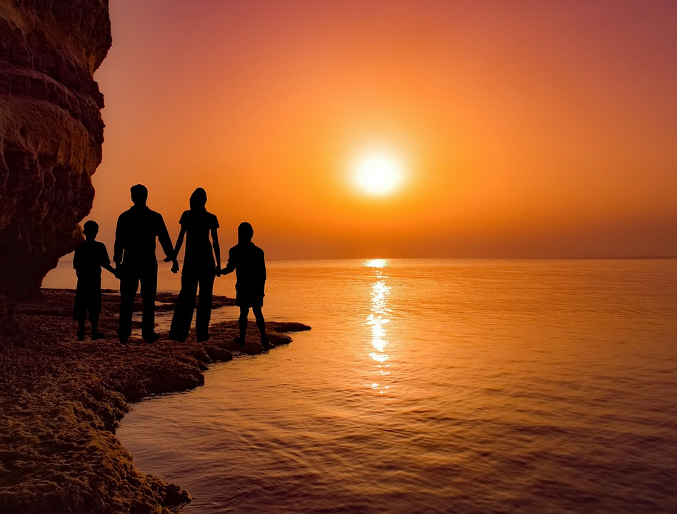 Sunset, Family, Sea, Dusk, Sun, Vacation, Silhouette