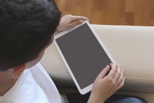 Niño, Tablet, Jugando, Tecnología, Wifi