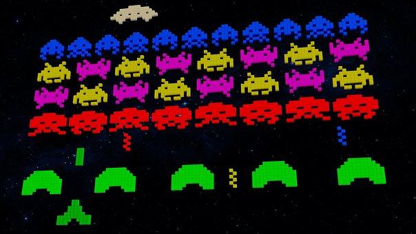 背景, ビデオゲーム, 80 年代, エイリアン, レトロゲーム, 3 D