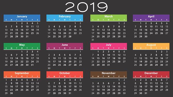 Calendar, 2019, Agenda, Schedule, Plan