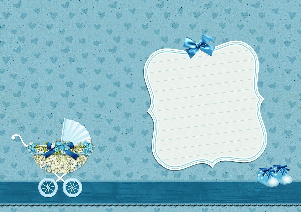 Background Image, Baby Carriage, Baby Shoes, Blue,How to write a baby shower card by Uswishes