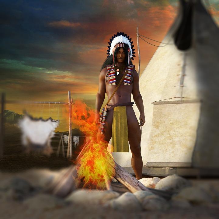 Homem, Índios, Oeste Selvagem, Tippi, Peles, Fogueira