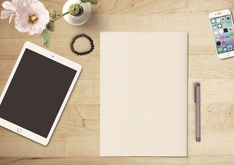 紙, タブレット, 携帯電話, 花, ペン, 木製のテーブル, 装飾, メモ
