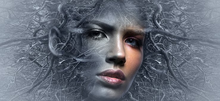 Fantasy, Face, Branches, Woman, Surreal