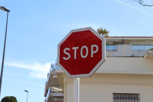 ストリート, 道路, 空, トラフィック, サイン, 青空, 事業, 外