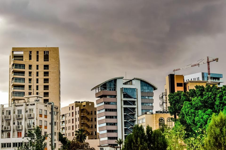 Architecture, City, Buildings, Urban, Cloudy, Stormy