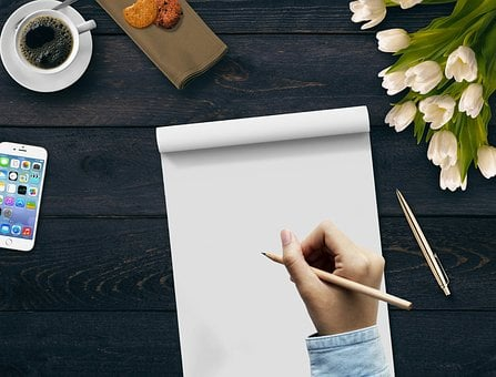 Writing, Hand, Coffee, Notepad, Flowers