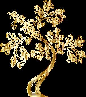 ツリー, 装飾的な, 花柄, 繁栄, 花, 装飾用の, 植物, ゴールド