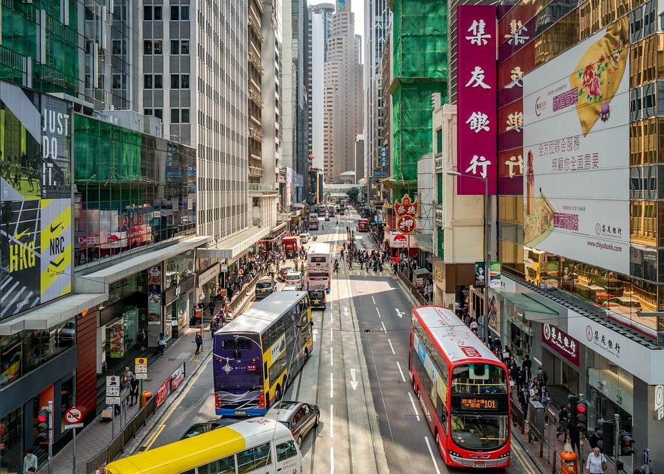Stad, Väg, Horisontella, Trafik, Resa, Hong Kong