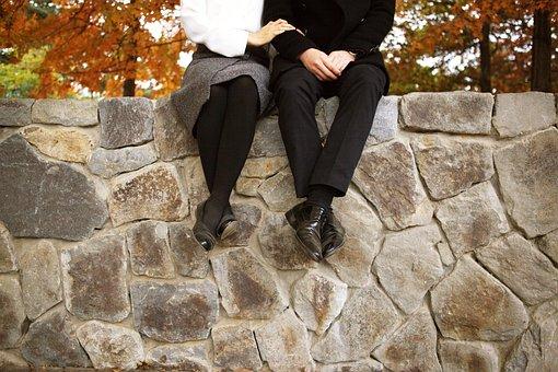カップル, 結婚式の自己, 結婚, 秋, 結婚式, 紅葉, 壁, 愛