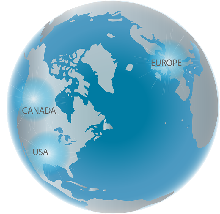 Map Of Canada On Globe.Globe Europe Canada Free Vector Graphic On Pixabay