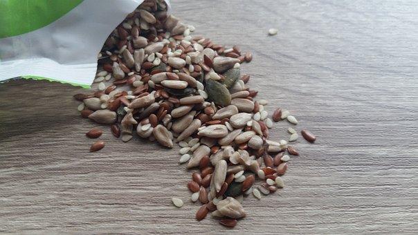 Seeds, Flaxseed, Sesame, Snack, Healthy