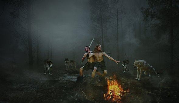 Human, Adult, Man, Smoke, Wolf, Courage