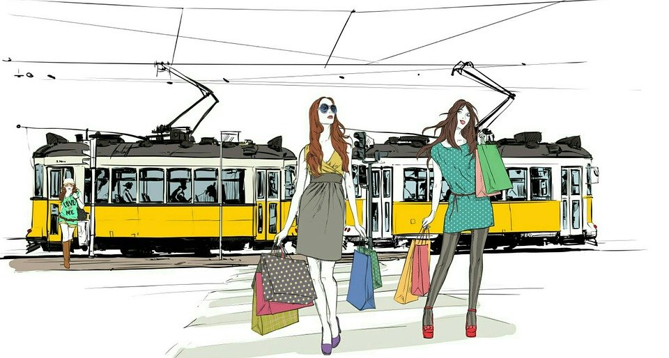 トラム, 路面電車, 交通機関, 旅行, 都市, 市, 観光, ショッピング, ライフスタイル, 女性