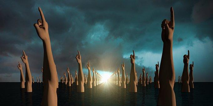 人差し指, 手, 貧しい, 曇った空, 水, 再生, 光, シュール