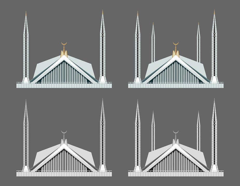 Faisal Mosque Islamabad Pakistan - Free vector graphic on