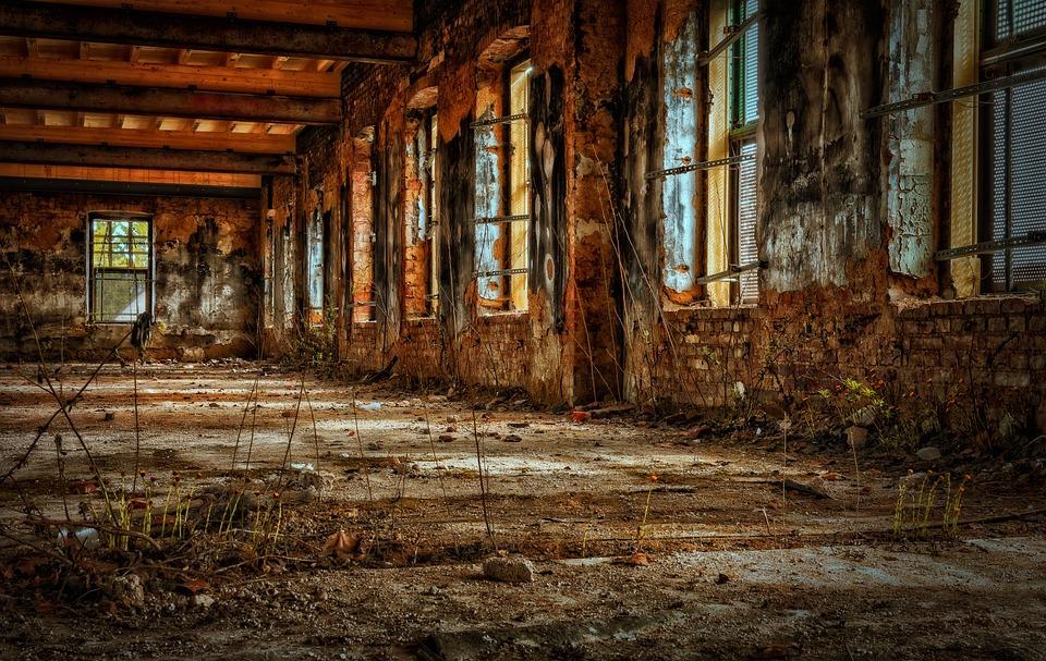 工場, ホール, 空, 古い工場, 破滅, 崩壊, 失われた場所, 工場の建物, 古い, 破壊, 壊れた