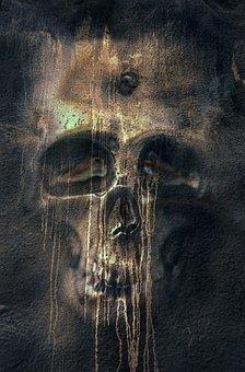 Fantasy Art Woman Pile Skulls