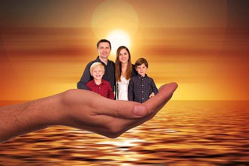 Familia, Sun, Puesta Del Sol, Mujer