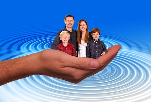 Mão, Proteger, Proteção, Pai, Família