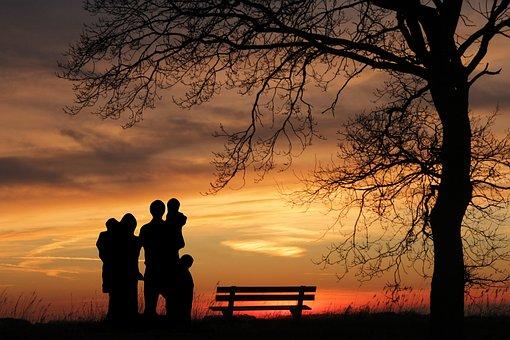 家族, サンセット, 女性, 子供, 父, 母, 保護, 子, 少年, 女の子