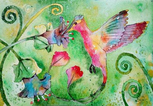 Figure, Bird, Painting, Hummingbird