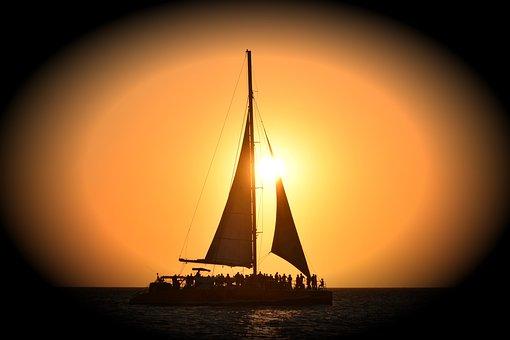 Sailboat, Sunset, Sea, Ocean, Dark
