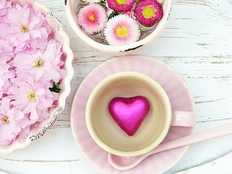 Heart, Pink, Cup, Flowers, Petals,124 Free images of Chocolate Day Related Images: Chocolate Love Heart  Valentine's Day  Candy  Hot Chocolate  Romantic  Romance  Valentine  Sweet