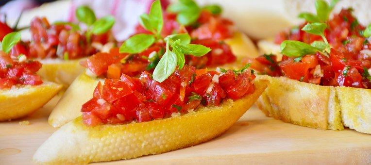 Bruschetta, Bread, Baguette, Tomatoes