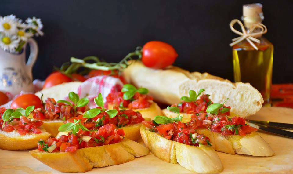 Bruschetta, Pane, Baguette, Pomodori, Basilico