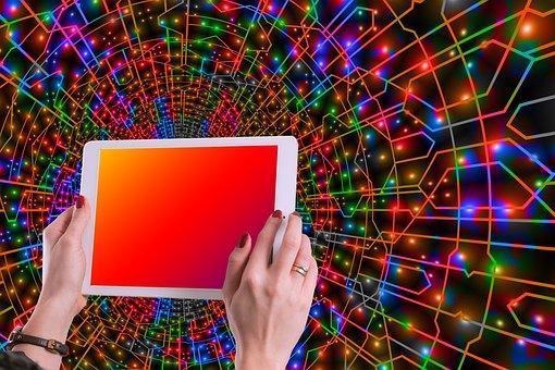 ネットワーク, タブレット, 手, 指, 女性, 色, カラーテーブル