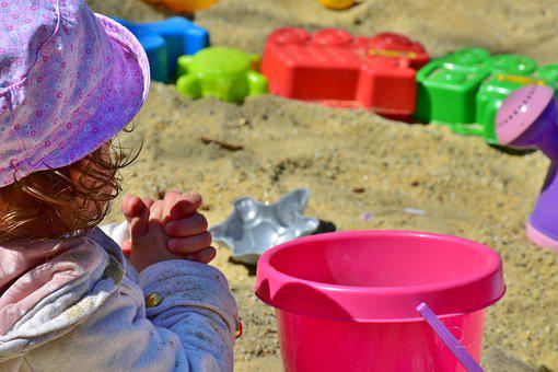 Child, Girl, Play, Bucket, Sand Pit