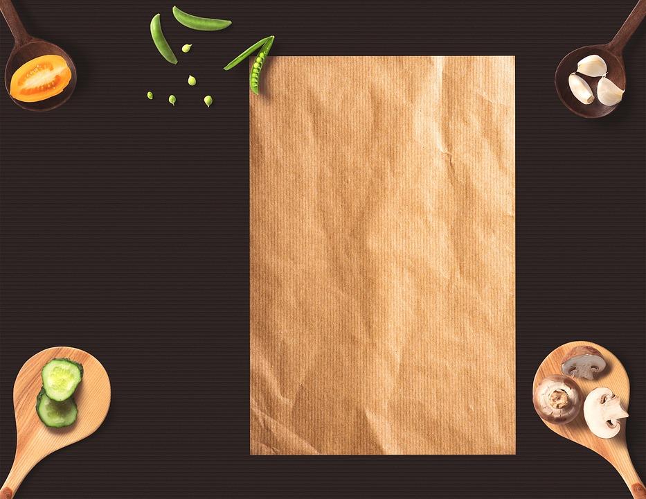 Menu, Paper, Background, Wooden Spoon, Eat, Peas